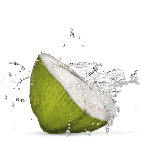 Cut coconut with splashing water