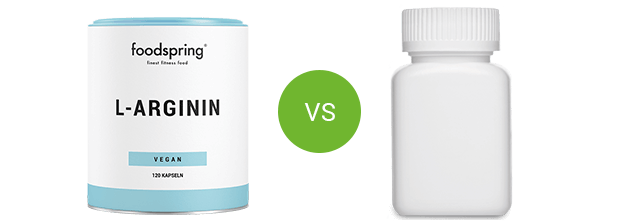L-Arginine by foodspring vs. competitor product