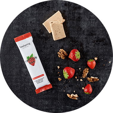 Top View protein bar with strawberries